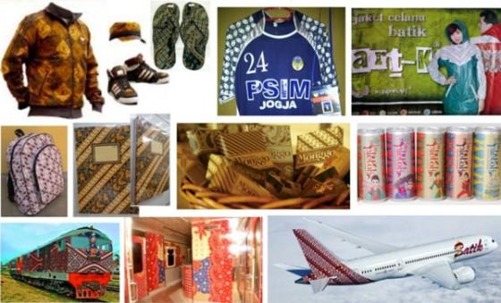 Beberapa barang komoditas dan alat transportasi yang dibungkus dengan motif batik