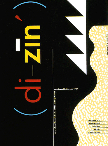 Advertisement for Di-Zin opening exhibition designed by April Greiman Inc. 1987.