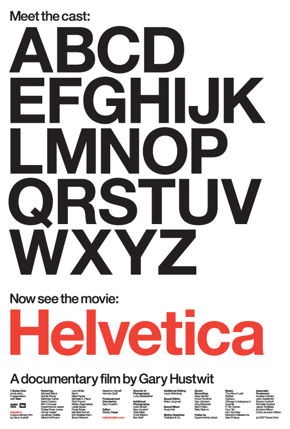 """Helvetica film poster """"Meet the cast"""" design by Experimental Jetset. 27″ x 38.75″, litho printed."""
