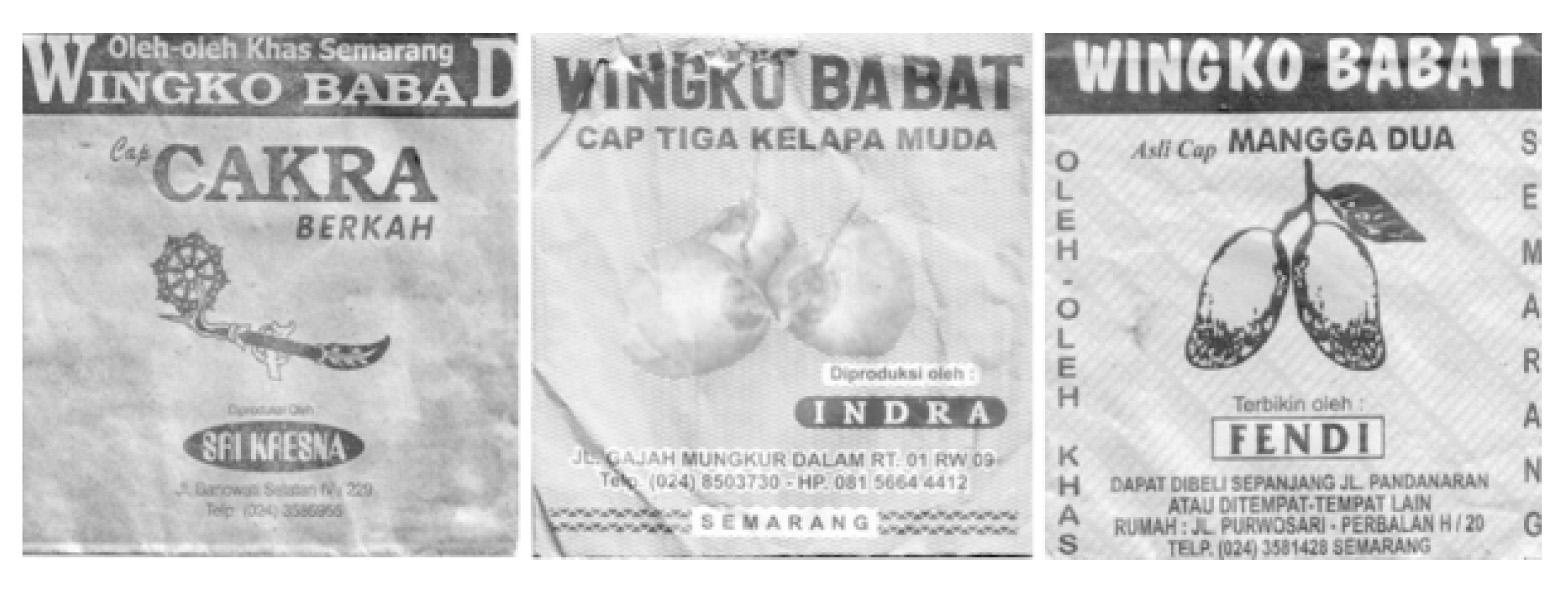 Merek-merek kemasan Wingko Babat merek Cakra, Kelapa Muda, dan Mangga Dua. (Sumber: Afnita, 2010:122, 128)
