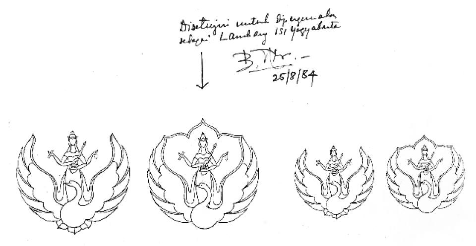 Rancangan lambang ISI Yogyakarta yang telah disetujui dan mendapat acc Rektor ISI Yogyakarta, Drs. But Muchtar.  (dok: Subroto, Sm.)
