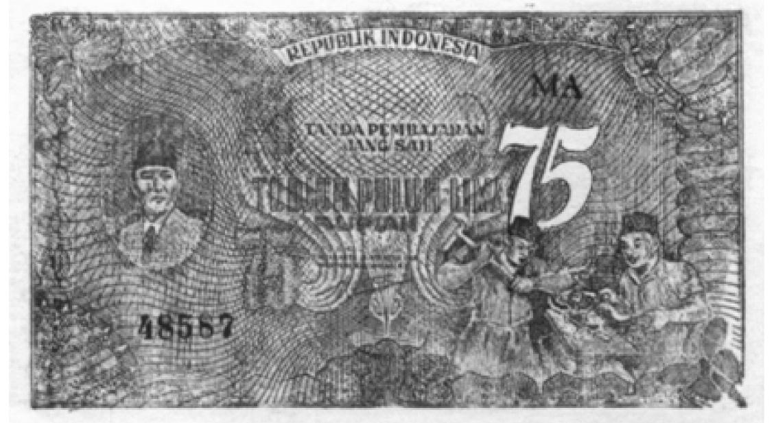 Uang ORI 75 (Tujuh Puluh Lima) Rupiah. Delinavit: Dibyo Pramudjo. Sumber: Bank Note and Coind, 1990: 62