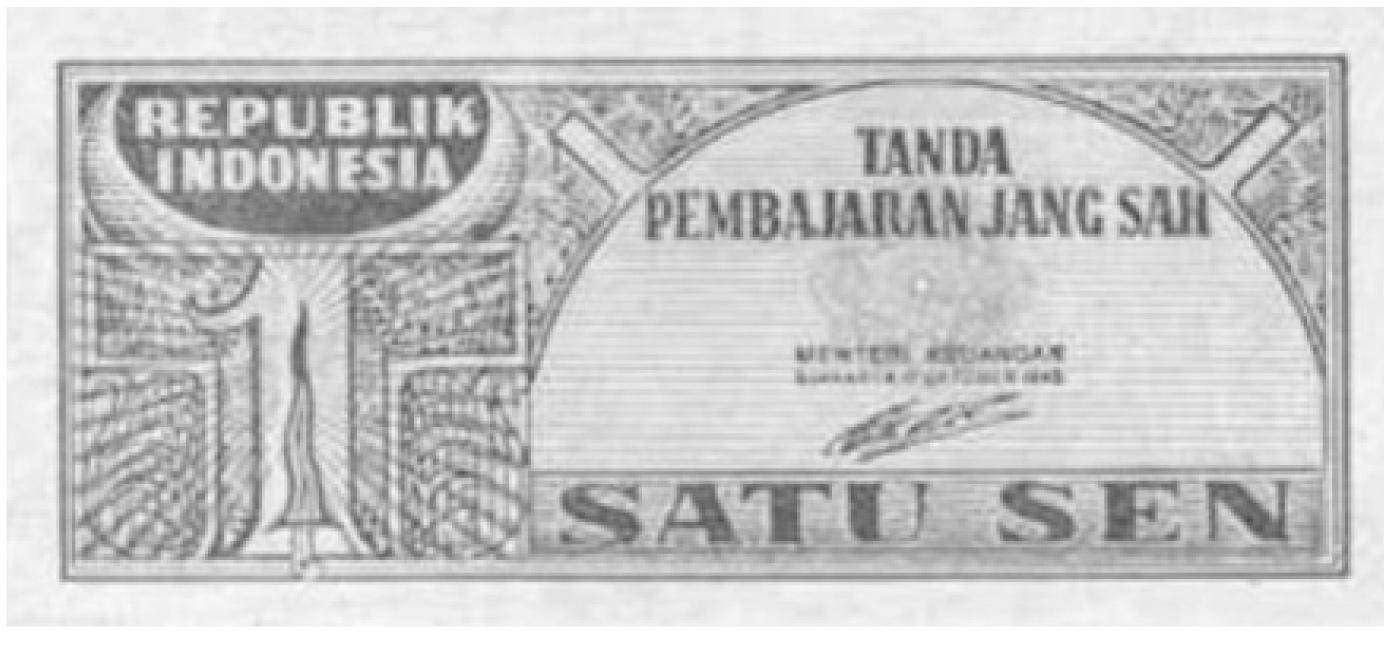 ORI 1 (satu) Sen, delinavit: Abdulsalam. Sumber: Bank Note and COin, 1990: 52