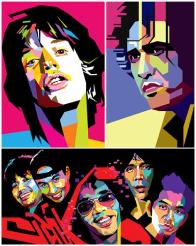 Ilustrasi karya Wedha dengan gaya Foto Marak Berkotak (FMB) cikal bakal gaya WPAP, berturut-turut menggambarkan Mick Jagger, Iwan Fals, dan grup musik Slank, 1990-an